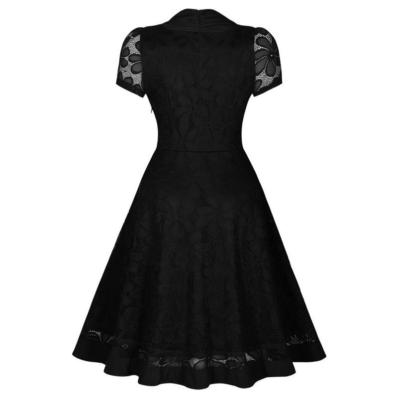 V249 Womens Vintage V-Neck Short Sleeve 1950s Audrey Hepburn Retro Style Pin up Rockabilly Swing Black Lace Party Dresses (2)
