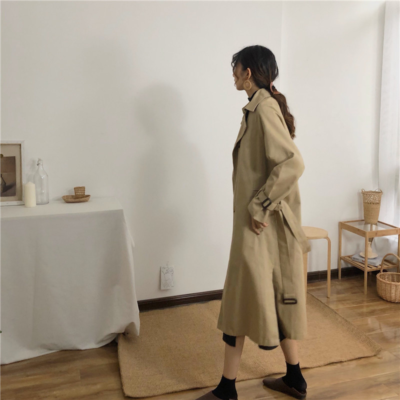 Spring And Autumn Women Fashion Brand Korea Style Waist Belt Loose Khaki Color Trench Female Casual Elegant Soft Long Coat Cloth 4