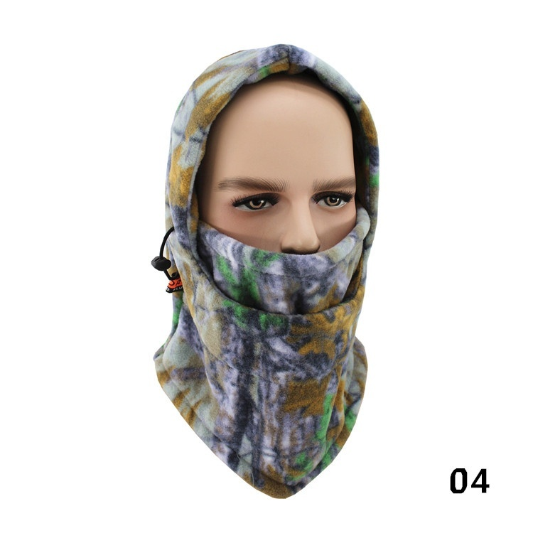 Зимняя шапка для лица и шеи, флисовая камуфляжная шапка, Балаклава для походов и верховой езды, лыжная и охотничья теплая шапка, Ветрозащитная маска - Цвет: A-04