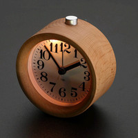 Handmade Classic Small Round Wood Silent Desk Sound Control Wooden Wood Square Alarm Clock Desktop Table Digital Wood 3DBGNZT01