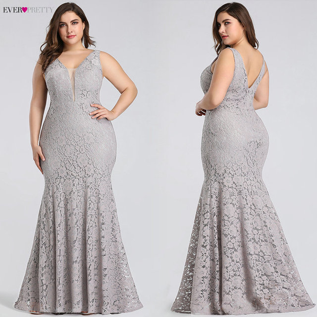 Plus Size Prom Dresses 2019 Ever Pretty EP08838 Elegant Mermaid Lace Sleeveless V-neck Long Party Gowns Sexy Wedding Guest Gowns 1