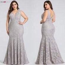 Платья для выпускного вечера размера плюс 2020 Ever Pretty EP08838 элегантные кружевные Длинные вечерние платья без рукавов с v образным вырезом, сексуальные свадебные платья для гостей