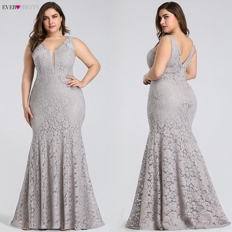Plus Size Prom Dresses 2019 Ever Pretty EP08838 Elegant Mermaid Lace Sleeveless V-neck Long Party Gowns Sexy Wedding Guest Gowns