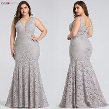 Plus Size Prom Dresses 2020 Ever Pretty EP08838 Elegant Mermaid Lace Sleeveless V-neck Long Party Gowns Sexy Wedding Guest Gowns cheap Ever-Pretty Sweep Train Floor-Length Pleat simple empire Polyester Trumpet Mermaid