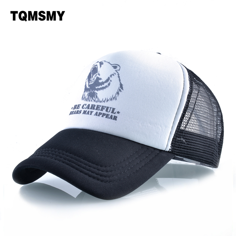 TQMSMY Funny Summer Mesh Baseball Cap Men Snapback Caps Hat Women Baseball Hats Hip Hop Cap for CAREFUL BEAR APPEAR TMBS125 washed denim baseball cap snapback hats autumn summer hat for men women caps casual hip hop cap printing gorras snapback hats