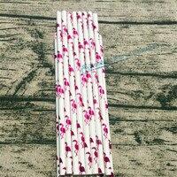 2000pcs Metallic Hot Pink Foil Flamingo Paper Straws Cute Shiny Luau Hawaiian Girls Birthday Wedding Bachelorette Party