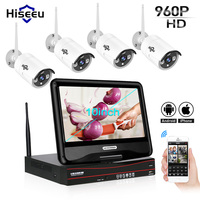4CH 960P 10 Inch Displayer Wireless CCTV System NVR IP Camera IR CUT Bullet CCTV Home