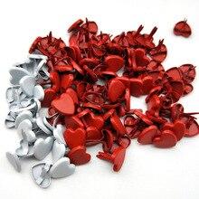 50 шт. 7 видов цветов Шарм Сердце Brads Diy Скрапбукинг Фотоальбом украшение декоративная застежка Brads металлические поделки подарок 8 мм