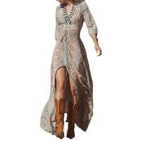 Summer Long Dress For Women Print V Neck Button Design Elastic Waist Tassel Ethnic Robe Vintage