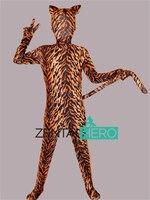 Livraison Gratuite DHL NOUVEAU Enfants Plein Corps Tiger Stripe Motif Lycra Spandex Animaux Mascarade Zentai Costume Costumes KC2071