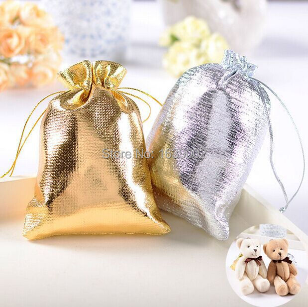 Just Arrival Cheap Gold And Silver Shining Wedding Favor Bags 100pcs