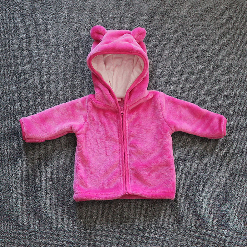 Baby Coats girls/boys Kids Tops Kids Warm sweatshirt Hooded coat ear Coral soft Velvet padded winter coat Children Jackets
