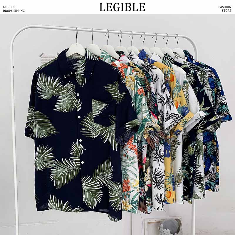 LEGIBLE Floral Shirt Men 2020 Men Korean Fashion Short Sleeve Shirt Male Hawaiian Shirts Casual Loose Clothes Men Oversize