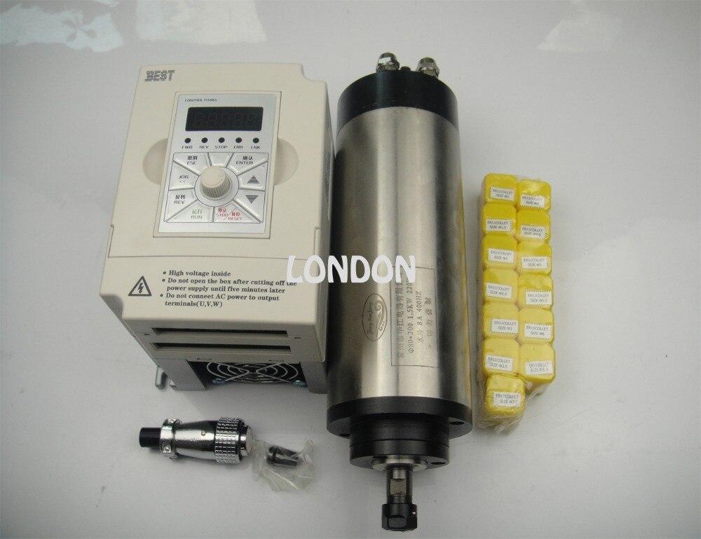 اینورتر 1.5 کیلو وات + کیت اسپیندل CNC ER11 800w موتور اسپیندل خنک کننده آب + 13 قطعه کلکسیون ER11