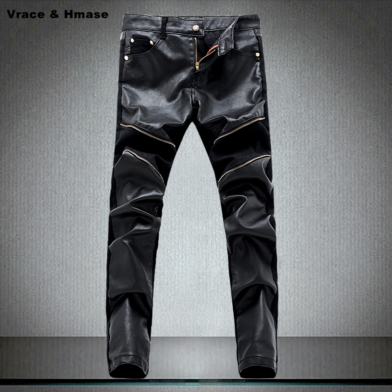 High-quality fight leather cowboy trousers boutique locomotive jeans New arrival 2017 straight slim fashion PU leather jeans men