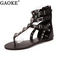2018 Croix Crâne Plat Sandales Femmes Chaussures D'été de Style Romain De Mode Sandales Chaussures Femmes Plat Sandales Pantoufles Flip Flops