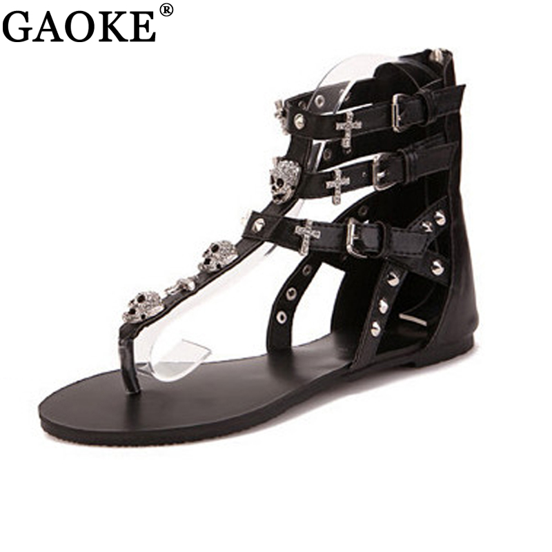 Sandalias planas con calavera cruzada 2018 para mujer, zapatos de verano, sandalias de moda estilo romano, Sandalias planas para mujer, zapatillas, chancletas