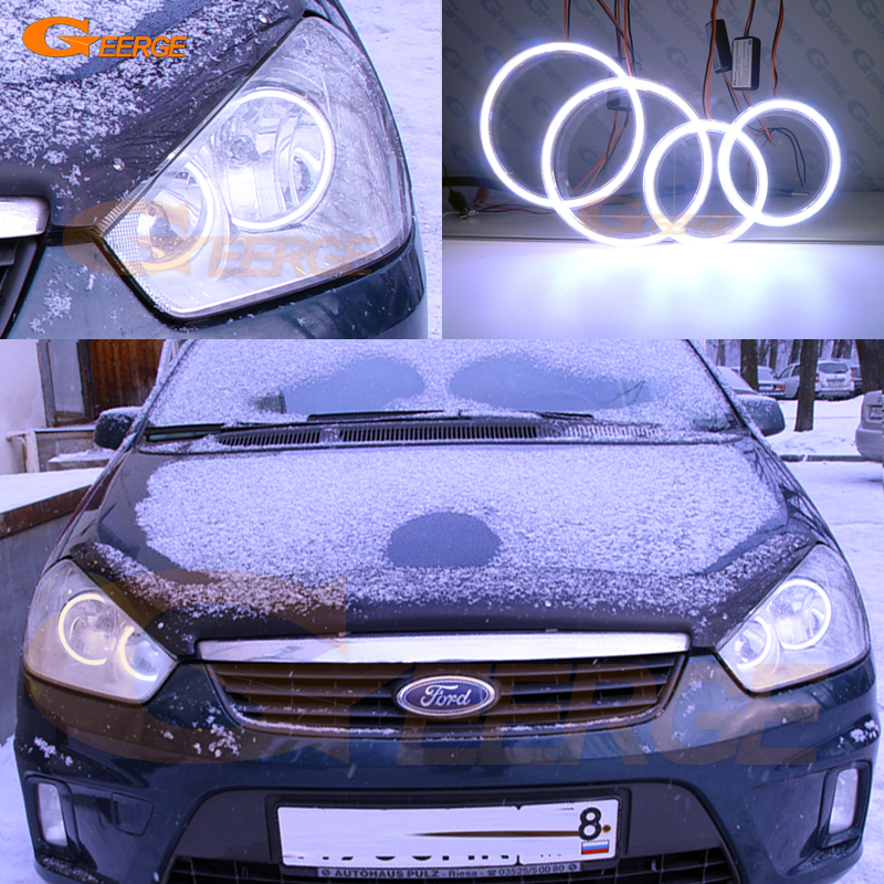 For Ford C-Max MkI 2008 2009 2010 Halogen headlight Excellent Ultra bright illumination COB led angel eyes kit halo rings for alfa romeo 147 2005 2006 2007 2008 2009 2010 headlight ultra bright illumination cob led angel eyes kit halo rings
