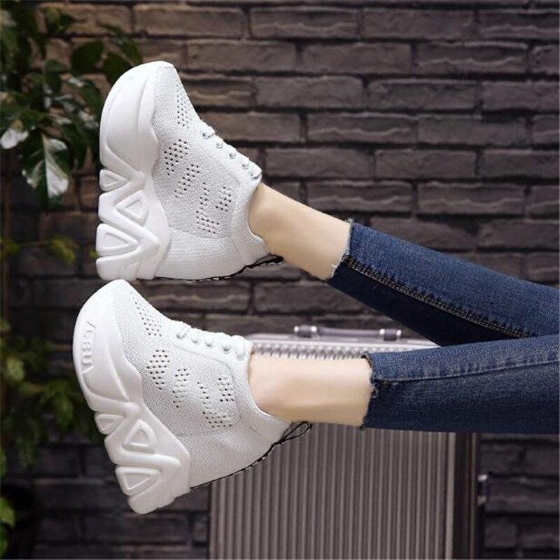 Loisirs rouge Haute 11 Up 2018 Noir 5 Cale Dentelle Chaussures Caché Talon Filles Cm forme De white Plate Mode Femme D'été Sneakers vpavrqwSRx