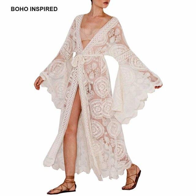 21ba90f21970 Boho Inspired floral print bell sleeve lace maxi wrap summer tunic dress  bohemian holiday kimono beach dresses vestidos 2018