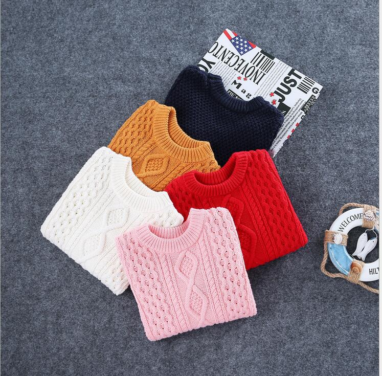 Cotton solid Pullover Knitted Sweater British style Cannabis Children Clothes All match Bottoming shirt Casual Spring