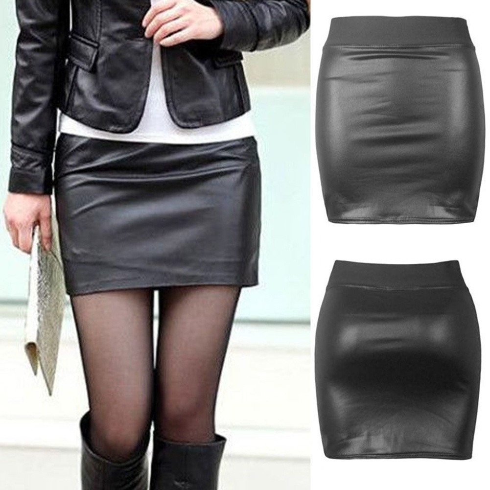 2016 Women Sexy Soft PU Leather High Waist Slim Pencil Bodycon Short Mini Skirt Lady Tight Stretch Black Midi OL Skirts Clubwear