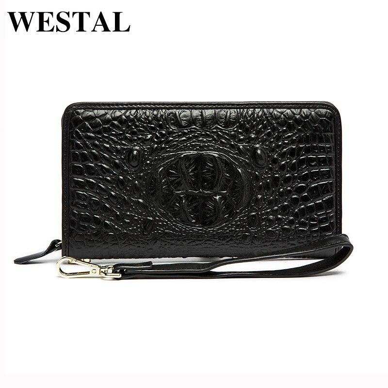 WESTAL Genuine Leather Men Wallets Man Fashion Clutch Bag Male Long Purses Alligator Pattern Wallet Men Cowhide Leather Bag 9075