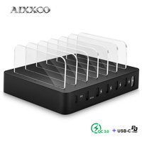 AIXXCO 9A 45W Quick Charge 3.0 Smart USB PD 3A Charger Station 6 USB Fast Charging Phone Tablet USB Charger For iPhone Samsung