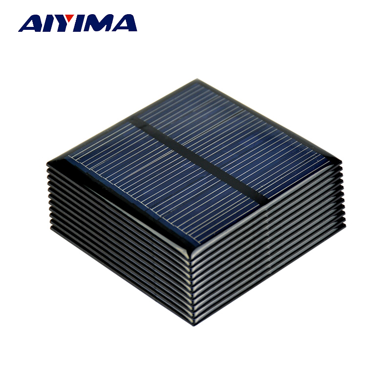 Aiyima 10pcs Poly Solar Panels 5.5V 80MA Polycrystalline Solar cells For DIY Solar Battery Charger Sunpower System 60*60MM