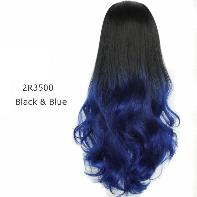 Cosplay Wig Blue Glussless Half Wigs 3 4 Good Quality Heat