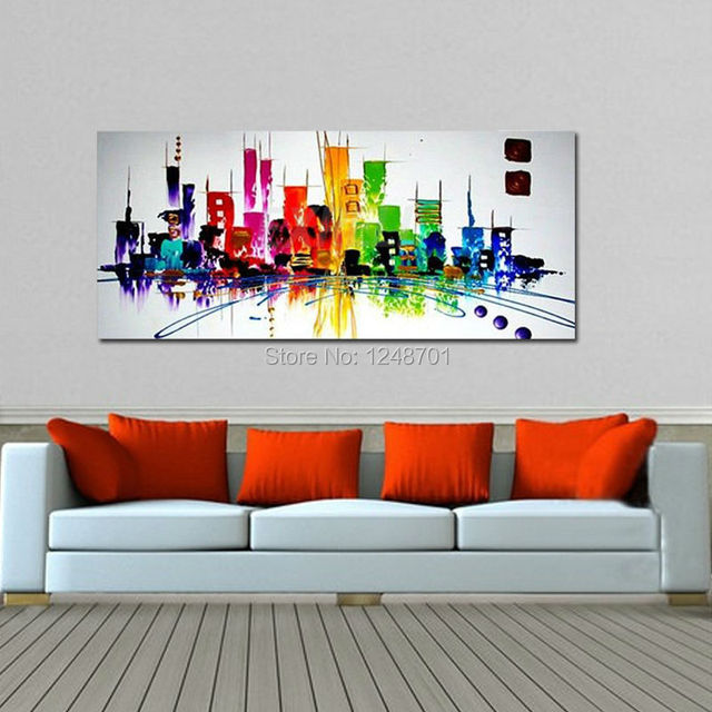 Hand Paint Oil Painting On Canvas Modern Abstract Color City Wall Art Home  Office Decoration 60x120cm