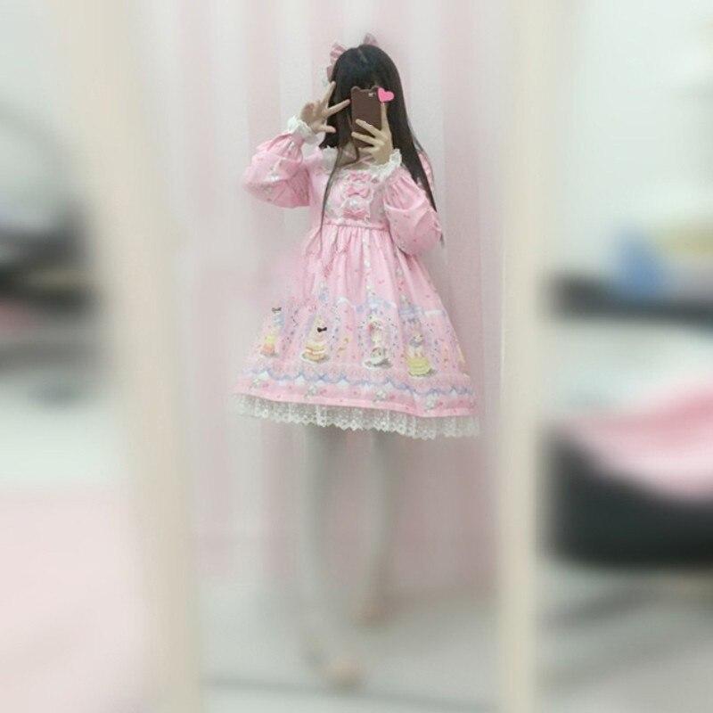 Femmes japonaises à lacets lapin Lolita robes col à manches longues douce princesse Laciness mignon belle fille robe en mousseline de soie