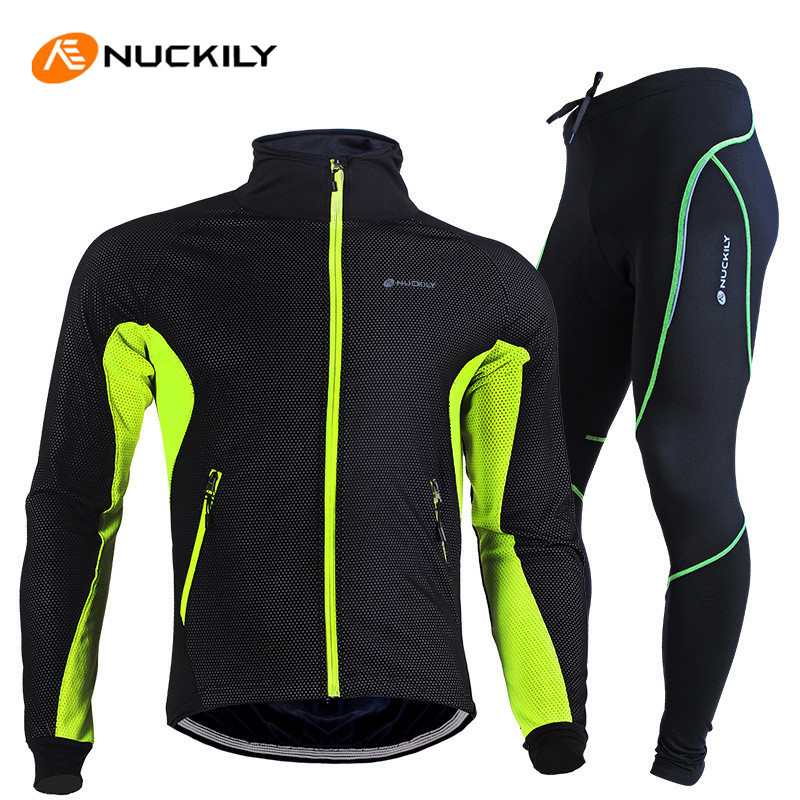NUCKILY Winter Cycling Clothing Fleece Thermal Windproof Sleeve Jersey Pants Ropa Ciclismo MTB Bike Bicycle Cycling Jacket Sets купить дешево онлайн