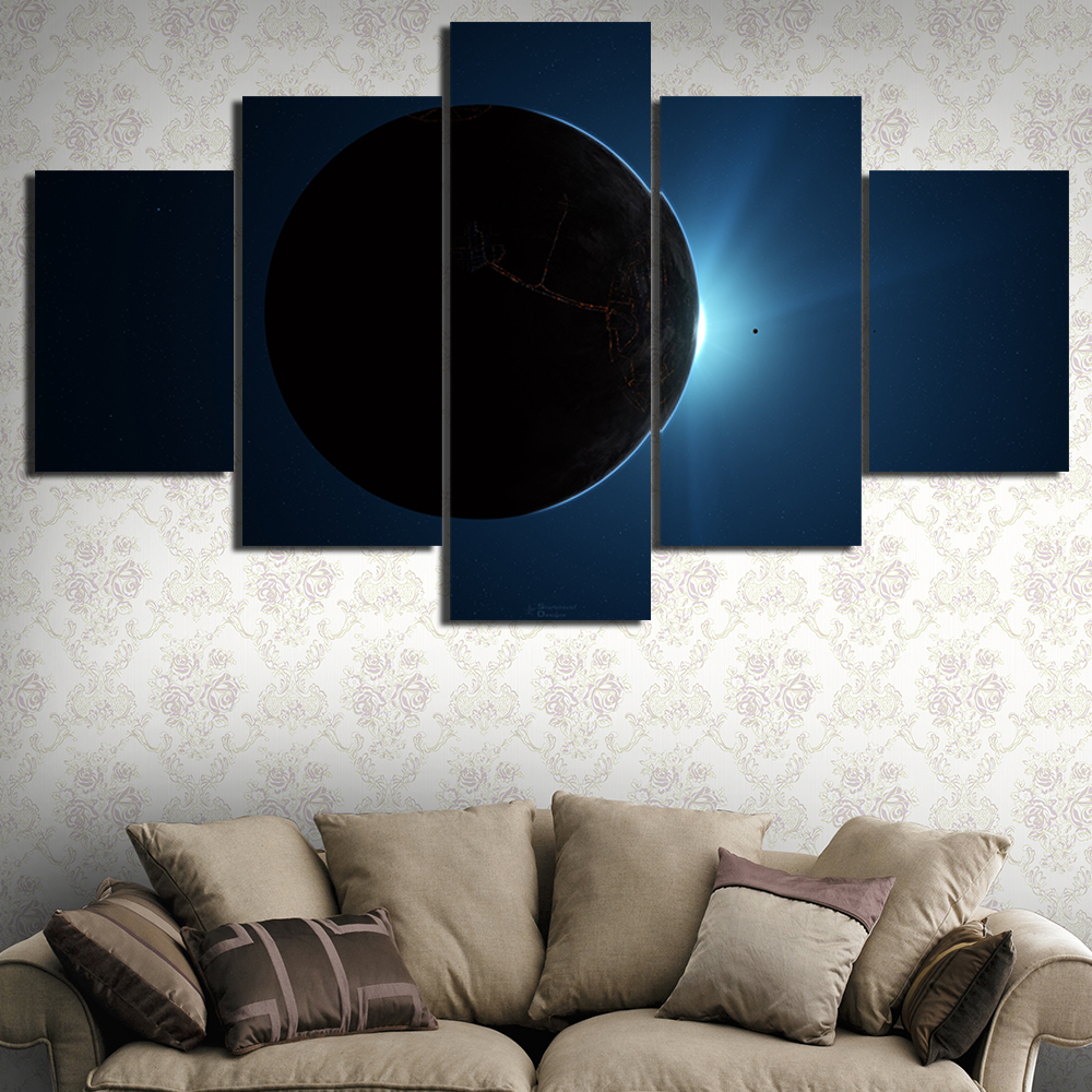 Colouring sheets of the lunar eclipse - 5 Pieces Lunar Eclipse Hd Oil Printed Painting Canvas Coloring Space Painting Children Room Modern Wall Art Customized Picture In Painting Calligraphy