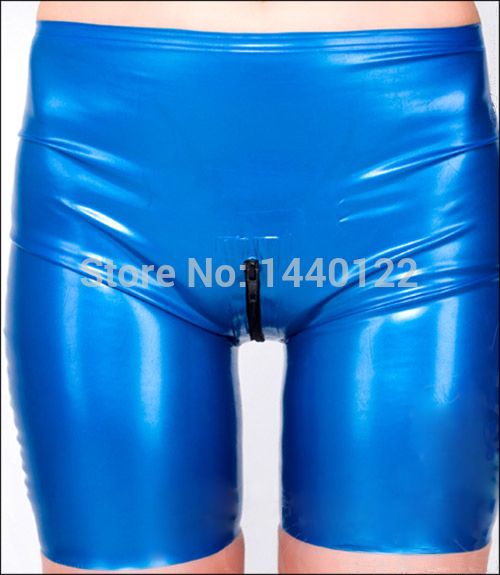 Women blue latex pants sexy rubber trousers leggings underwear exotic clothing for women large size hot sale S-XXL