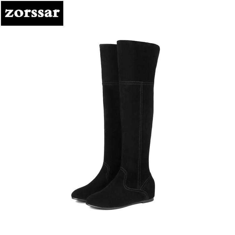 {Zorssar} 2019 New Fashion Female Snow boots Winter Plush Thigh High Boots Suede Leather flat heel Women Over The Knee boots zorssar 2019 new winter fur female snow boots fashion knee high boots suede leather women over the knee boots high heels