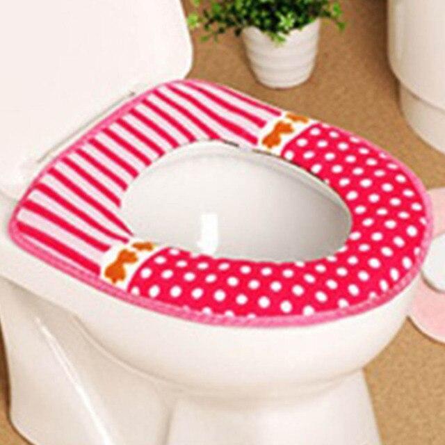 1 Pz Addensare Peluche Lavabile Bagno Toilet Seat Mat Copertura Coperchio Closestool Panno Warmer Igienici Pads Lavabile Panno Seat Cover