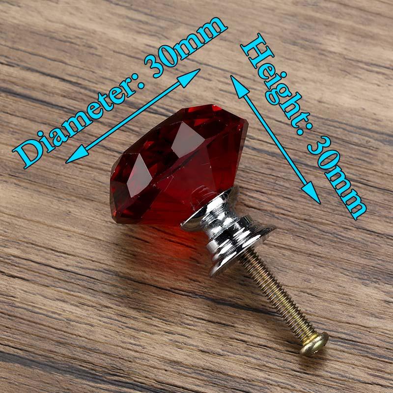 KAK 30 мм Алмазная форма дизайн хрустальные стеклянные ручки Шкаф Тянет ручки ящика кухонный шкаф ручки Мебельная ручка фурнитура - Цвет: Red
