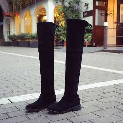 2018 ใหม่รองเท้าผู้หญิงรองเท้าสีดำเหนือเข่ารองเท้าบูทเซ็กซี่หญิงฤดูใบไม้ร่วงฤดูหนาว lady ต้นขาสูงรองเท้าขนาด 35-39