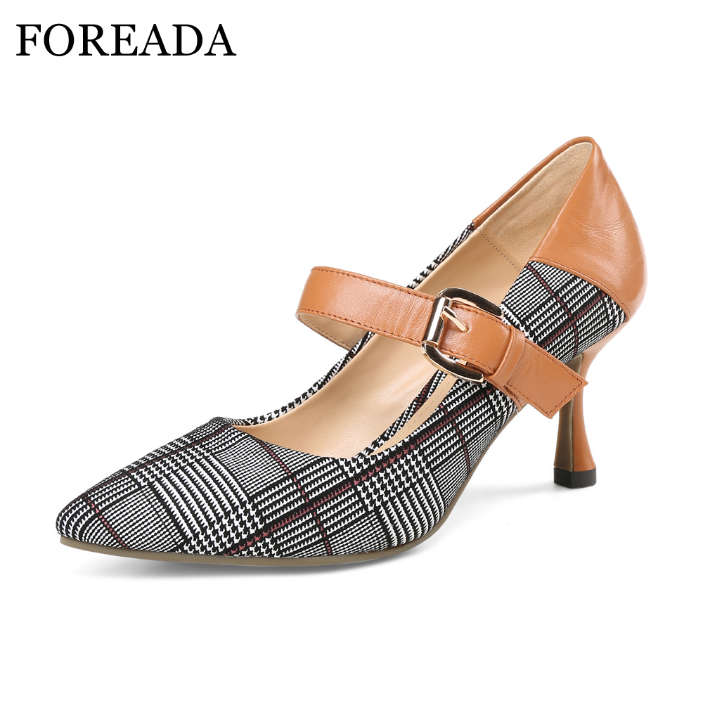 FOREADA Genuine Leather Shoes Women Sexy Party Shoes Ladies High Heels Pumps Plaid Buckle Strap Pointed Toe Shoes 2018 Spring foreada ballet flats shoes genuine leather women 2018 shoes ankle strap buckle flat black pointed toe casual shoes ladies spring