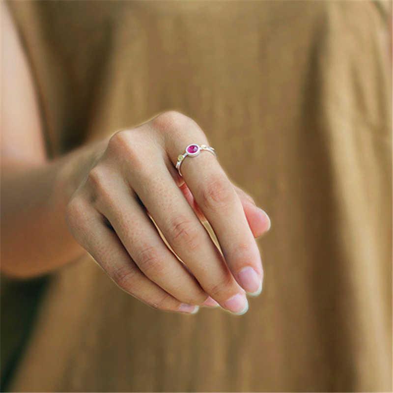 Lotus สนุกจริง 925 เงินสเตอร์ลิงธรรมชาติทัวร์มาลีน Handmade Designer เครื่องประดับที่ละเอียดอ่อนบางหญิงแหวน Bijoux