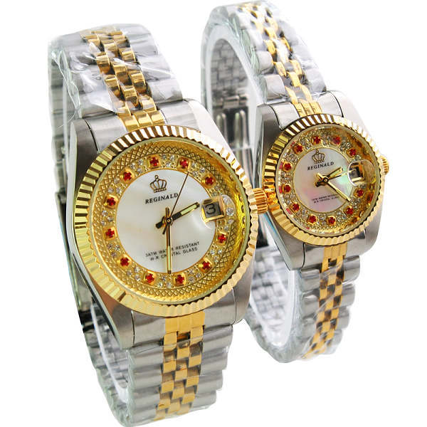 HONG KONG REGINALD Marca de Lujo Rhinestone de La Manera Hombre Mujer Amantes de cuarzo calendario reloj de Oro Relojes de pulsera de acero Inoxidable de Calidad Superior