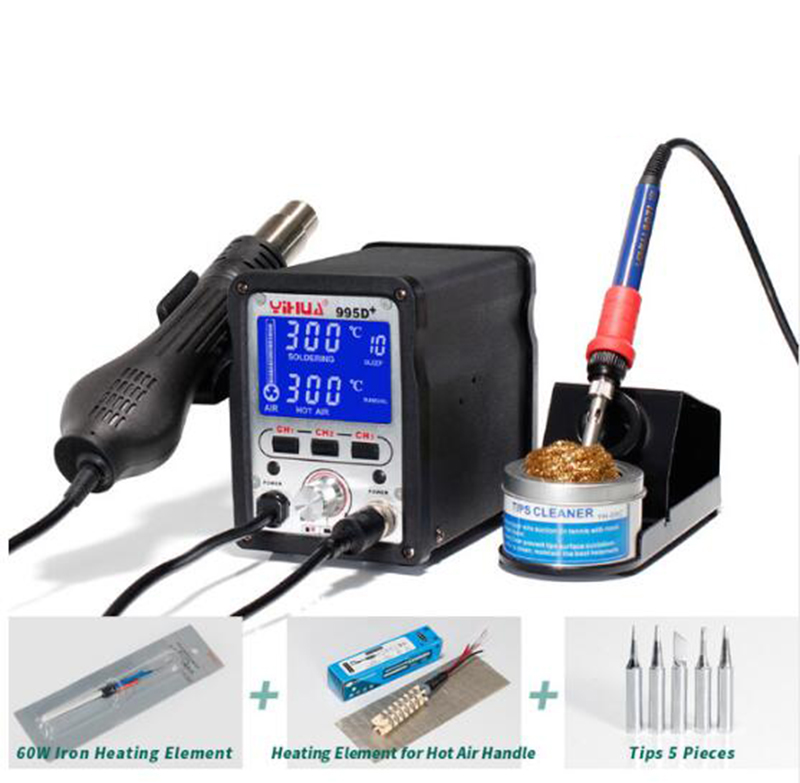 YIHUA 995D+ Lead Free Iron Soldering Station With Hot Air Station Soldering LCD Rework Station