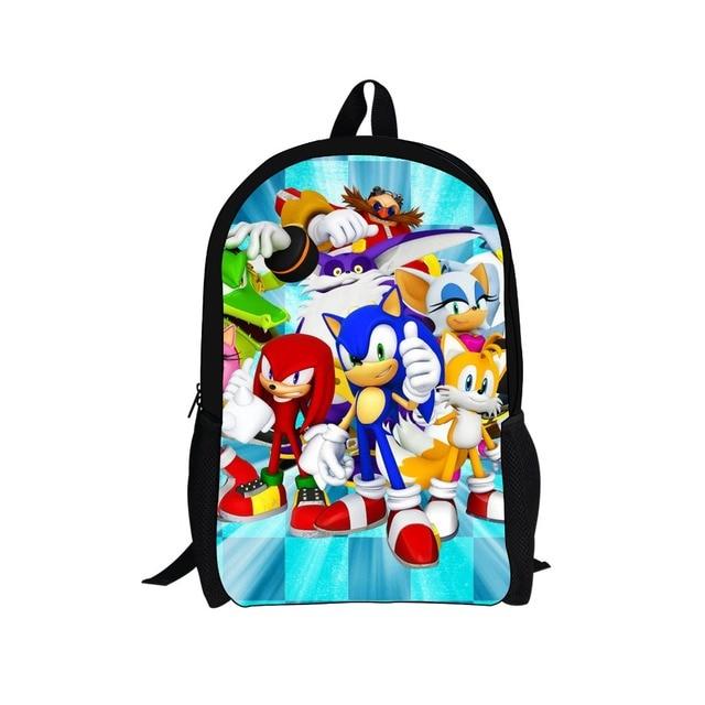181ae12c55 FORUDESIGNS 16 inch Sonic the Hedgehog School Bag for Kids Boy Backpack  Preppy Children School Sets Bag Anime Toddler Schoolbags
