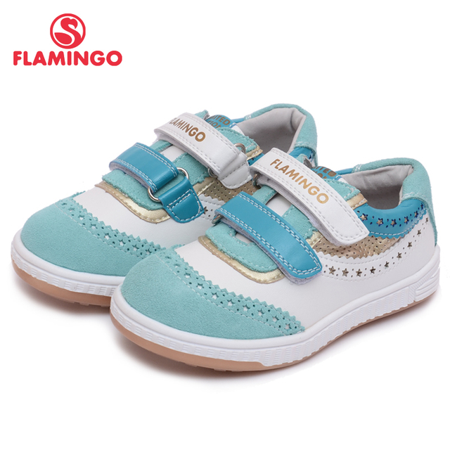 FLAMINGO 2017 Flamingo breathable genuine leather mixture color comfortable hook & loop casual shoes for girl 61-CP101/61-CP102
