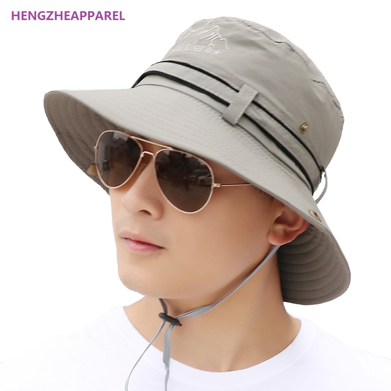 1ab031af607 2017 New Spring Men Travel Cap Sun Hats Summer Fashion Men Bucket Hat  Holiday Seaside Beach Hat