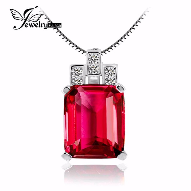 Jewelrypalace Luxury Emerald Cut 9.5ct Created Red Ruby 925 Sterling Silver Pendant High Quality  Vintage Pendant No Chain