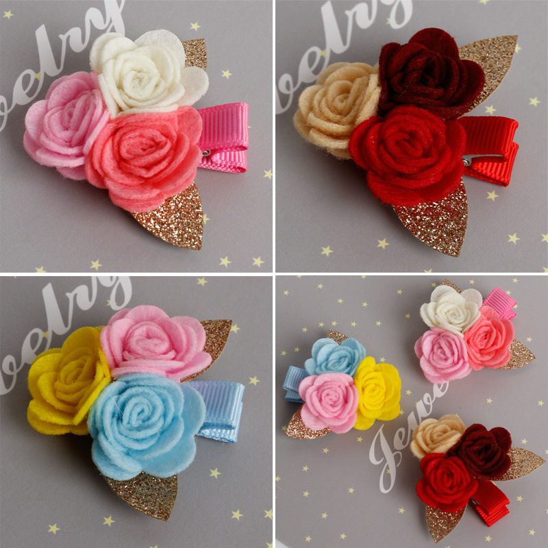 #71018 New Arrival Three Flowers with Bling Bling Leaf Hairpins for Girls Children Hair keep well Hairclip Pretty Kids Hairpin