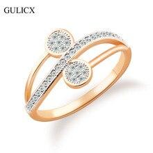 GULICX 2016 Jewelry Brand Fashion Midi Ring for Women  Gold Platinum Plated Ring Luxury Crystal CZ Zirconia Wedding Ring R242