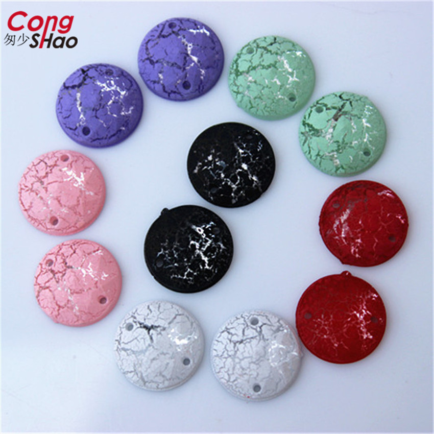 Cong Shao 200PCS 12mm Round Crack Acrylic Rhinestones Sew On Flat Back  Crystal Stones Gems For Clothes Dress Crafts DIY CS484 2a9d966cacf9